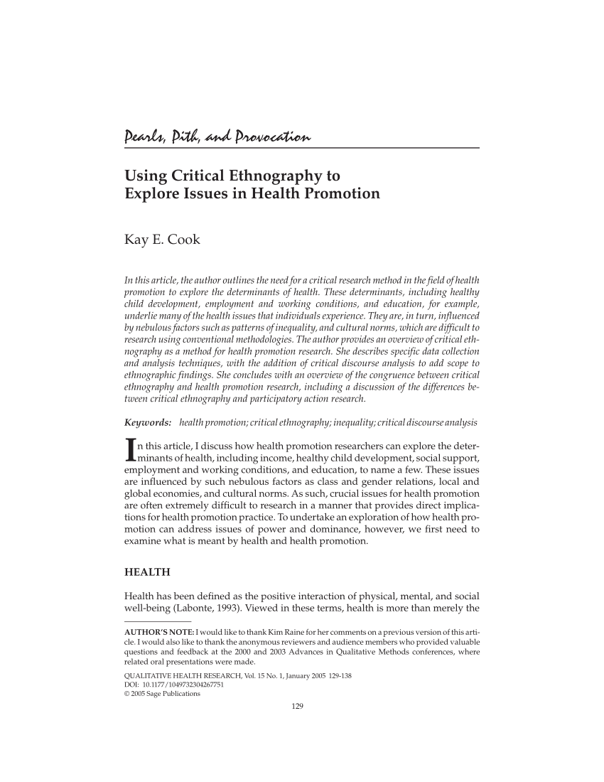 PDF Using Critical Ethnography To Explore Issues In Health Promotion