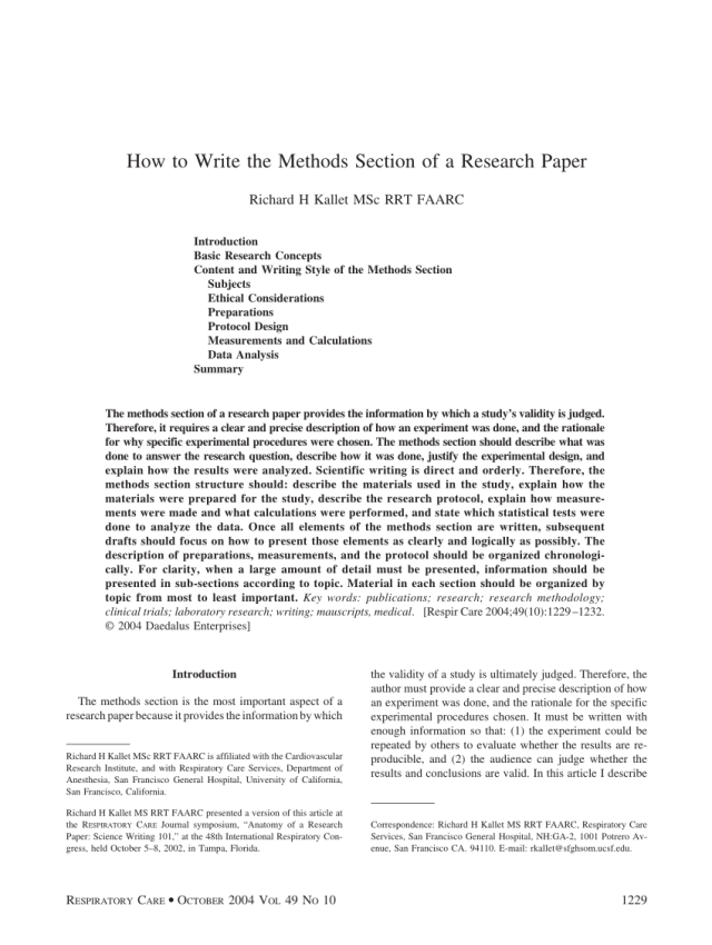 PDF) How to write the methods section of a research paper