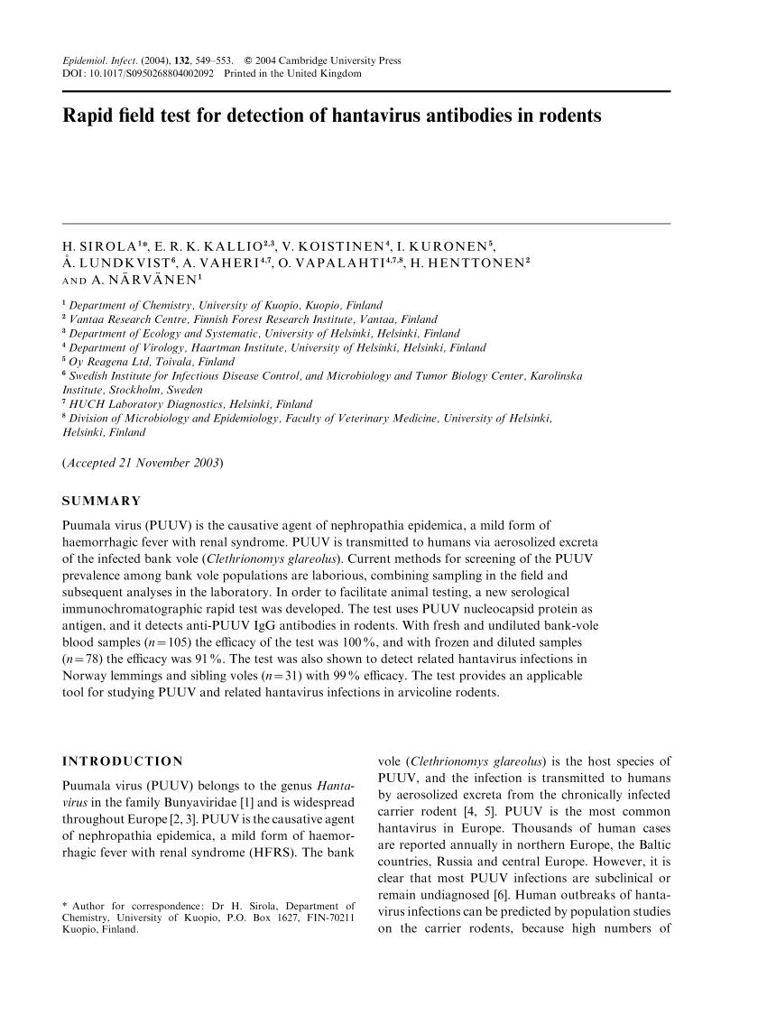 PDF) Rapid field test for detection of hantavirus antibodies in ...