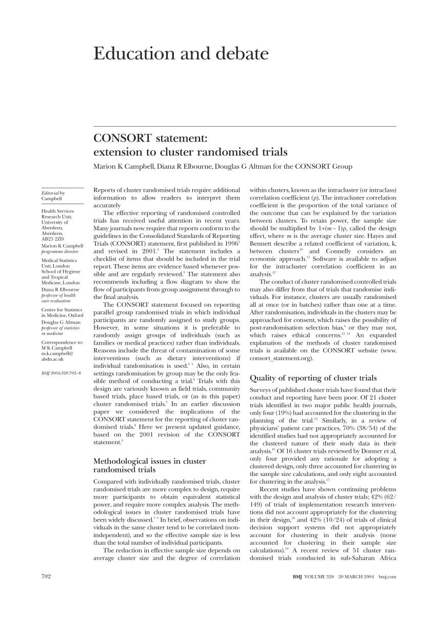 (PDF) CONSORT statement: extension to cluster randomised