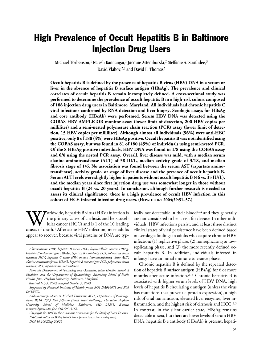 PDF) High Prevalence of Occult Hepatitis B in Baltimore Injection ...