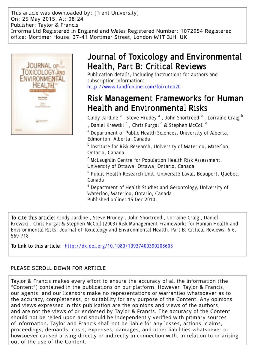 PDF Risk Management Frameworks For Human Health And