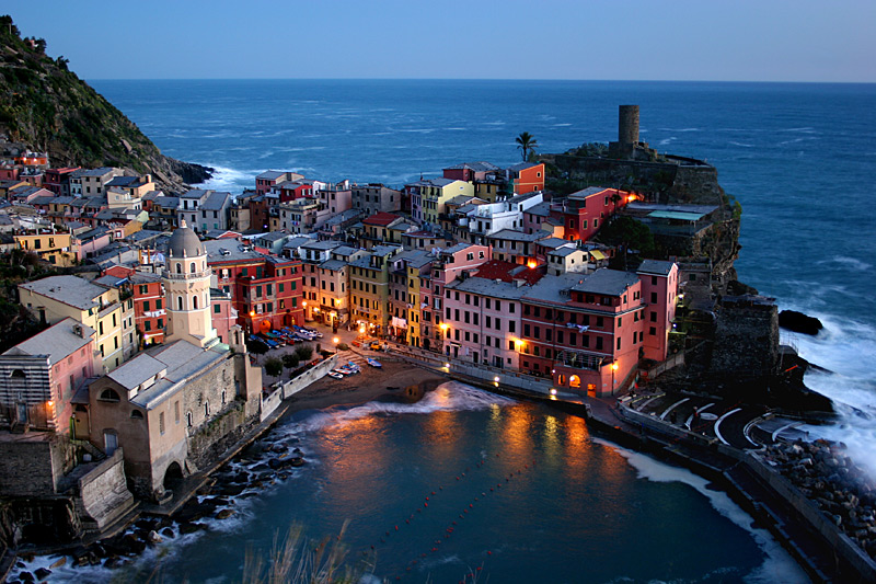 Vernazza after dusk a photo from La Spezia Liguria  TrekEarth