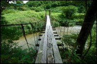 Small suspension bridge, a photo from Yamagata, Tohoku ...