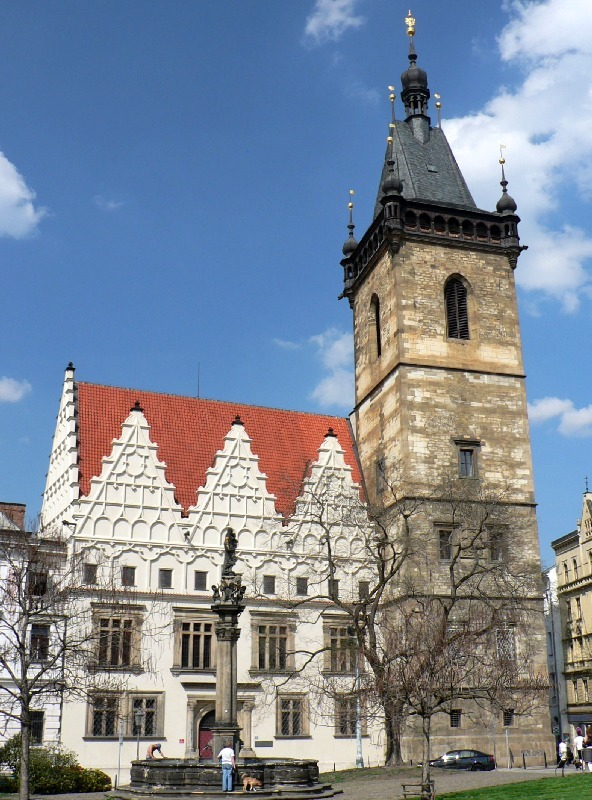 Prague New Town Hall Charles Square A Photo From
