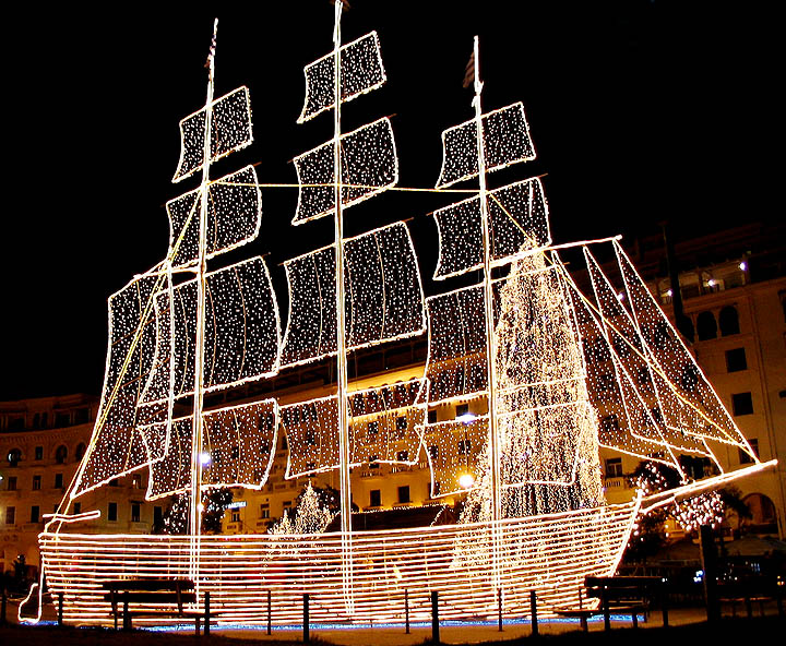 Ship Instead Of A Xmas Tree A Photo From Thessaloniki