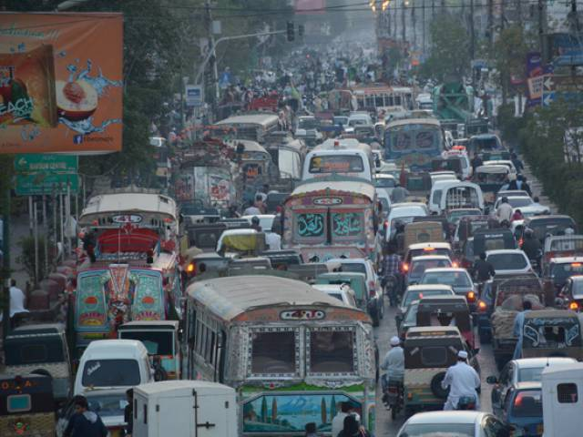 Due to protest rally traffic has been stuck at MA Jinnah Road Karachi. PHOTO: ONLINE