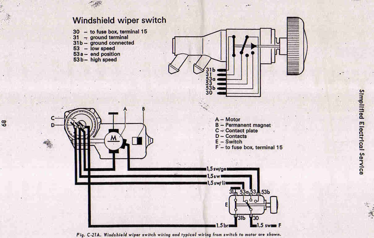 hight resolution of 67 beetle windshield wiper assembly rebuild u2013 1967 vw beetle beetle 1968 wiper switch wiring diagram