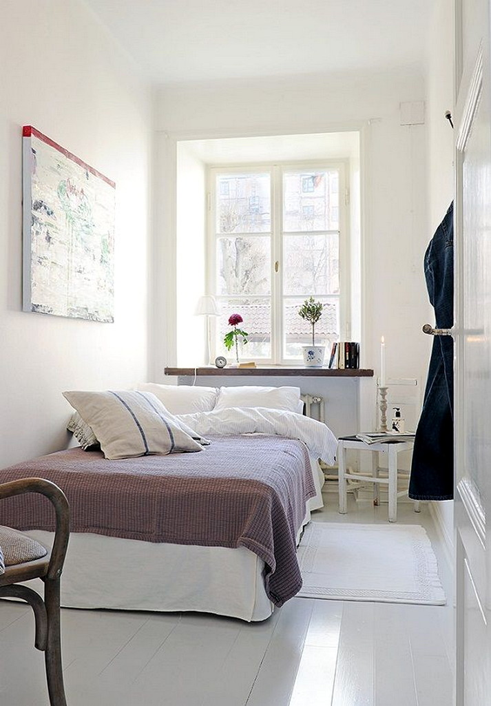 Narrow Bedroom Design For Couple With White Interior Color Inspiration Architecturein