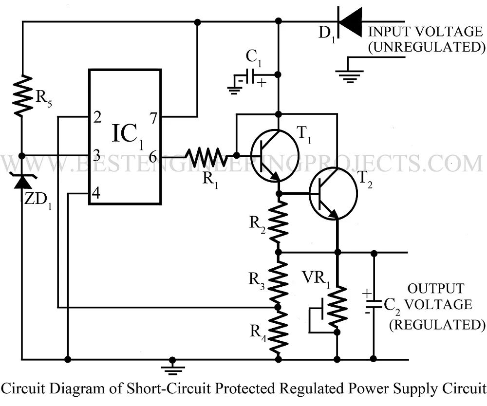 power supply protection short circuit protection circuit