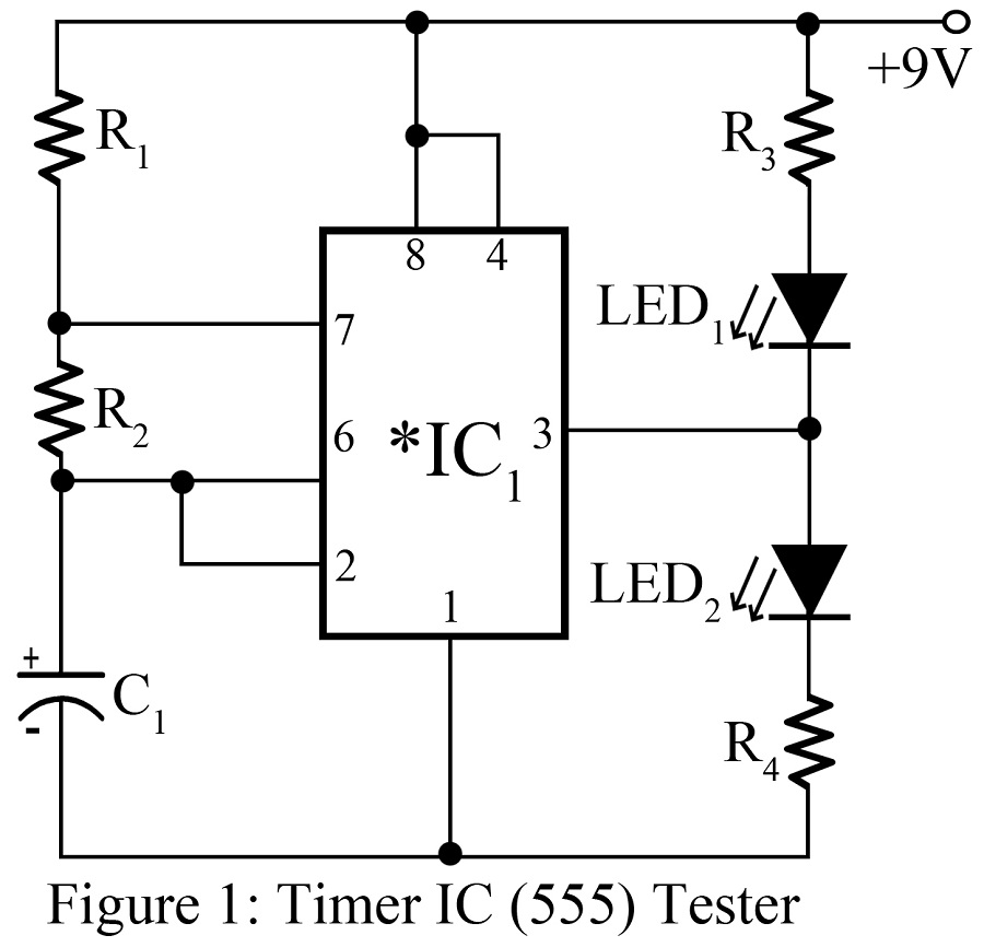 working of 555 timer ic tester