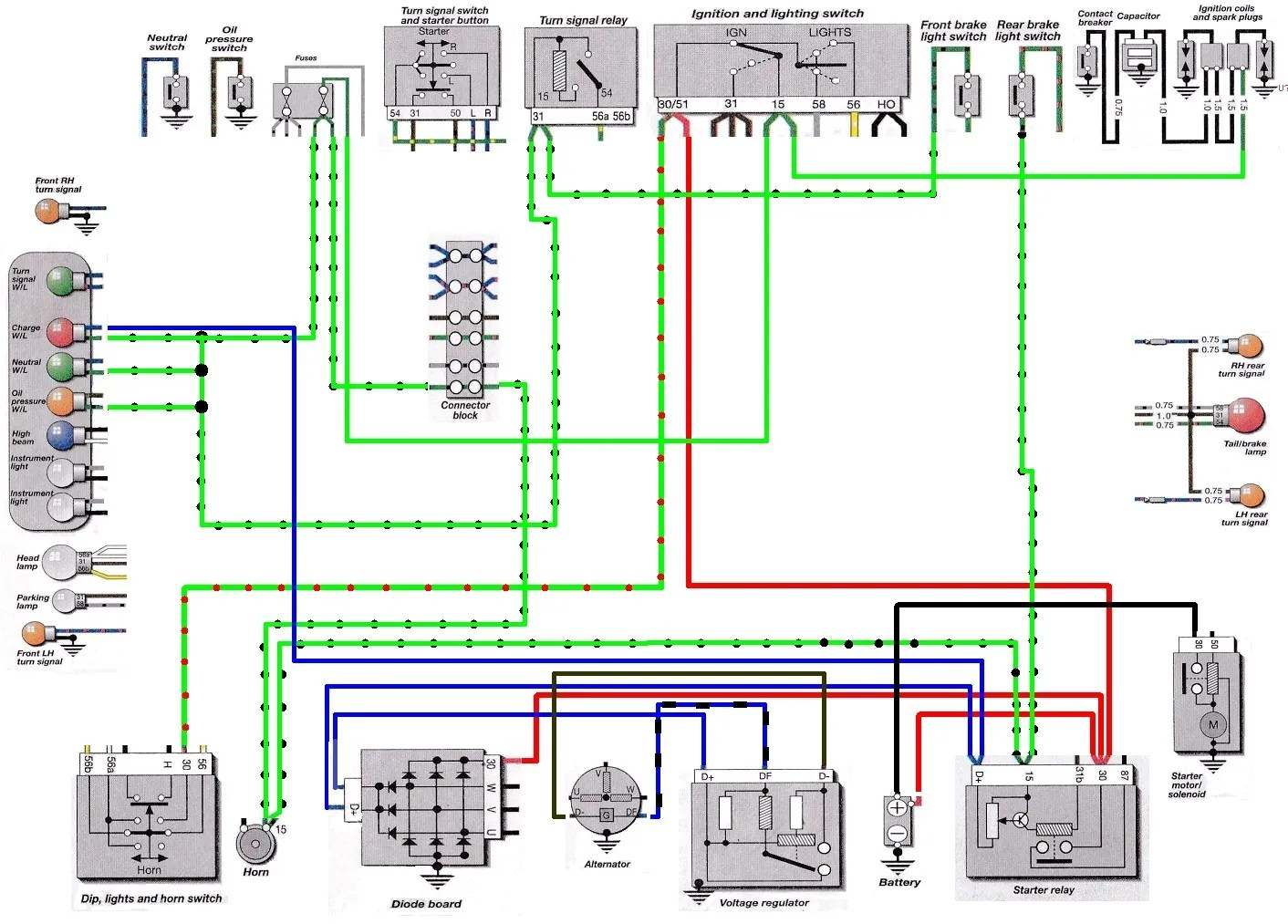hight resolution of 5 series partial wiring diagram showing blue wires from charge indicator lamp that create path to ground at starter relay terminal d click to enlarge