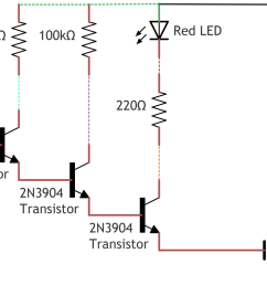 with two transistors the ideal gain becomes 200 200 40 000 and with three transistors as in this circuit  [ 1297 x 771 Pixel ]