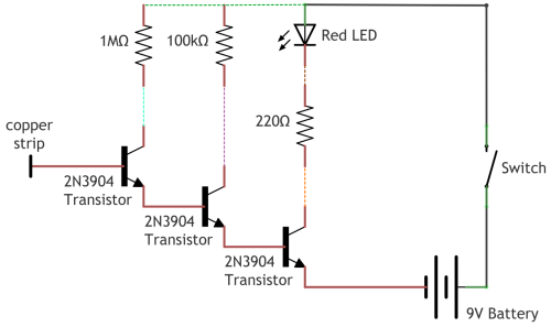 small resolution of with two transistors the ideal gain becomes 200 200 40 000 and with three transistors as in this circuit