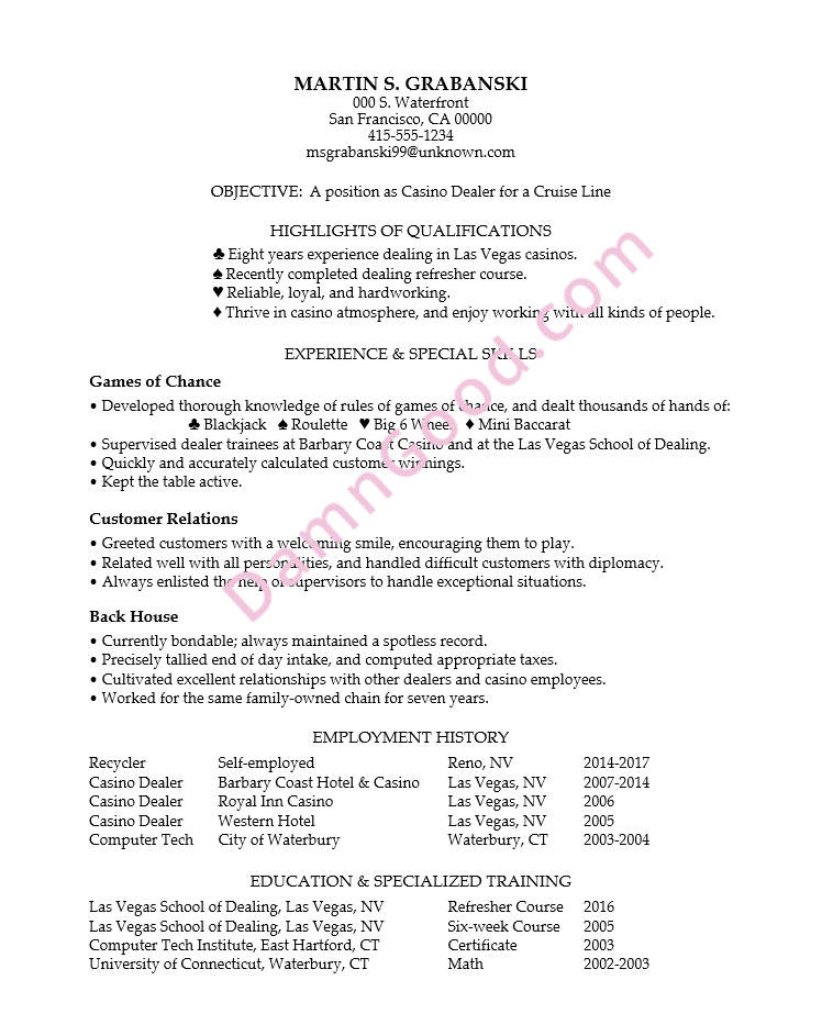 sample of applicant resume with work experience