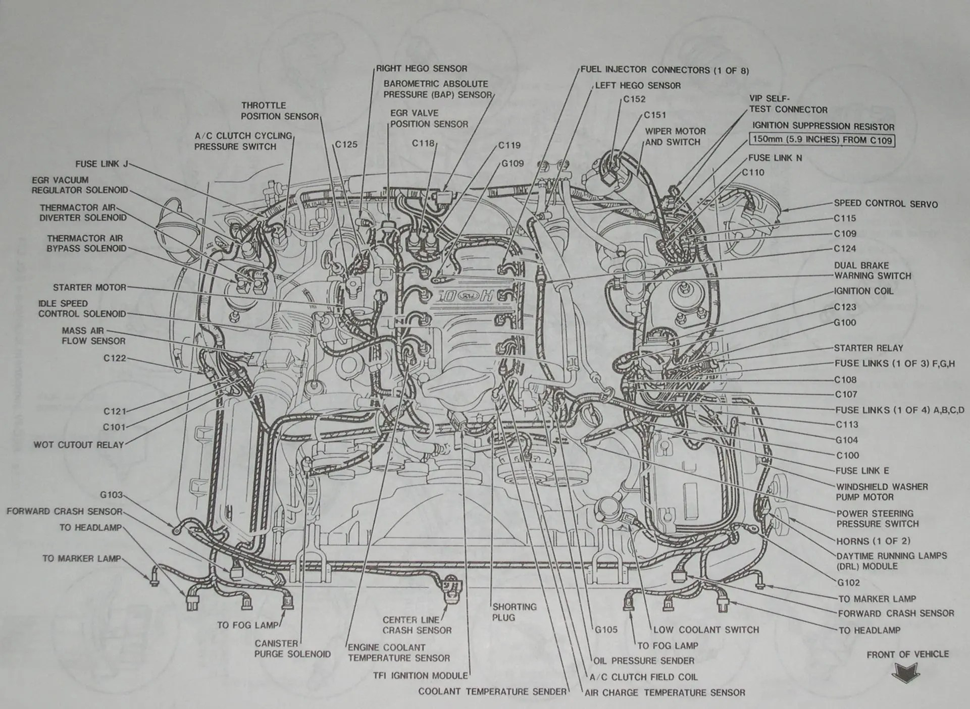 small resolution of 94 95 mustang 5 0 detailed mustang engine layout