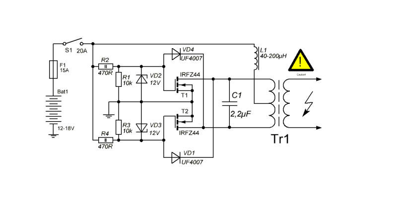 heres an online schematic of the zvs induction heater circuit