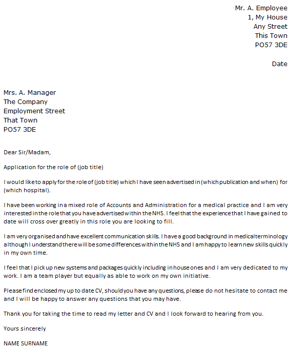 NHS Job Cover Letter Example Icover Org Uk