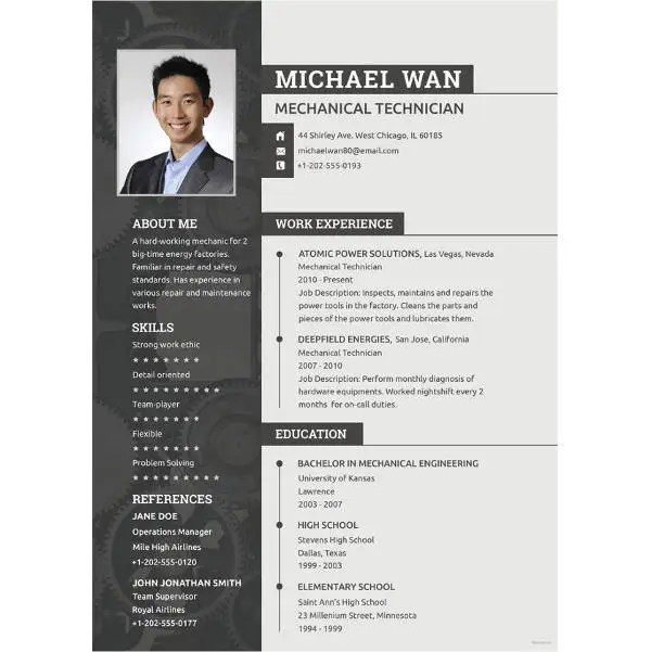 sample resume for experienced mechanical engineer free download