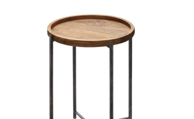 Side Table Rustic Industrial Iron Wood Furniture Jepara