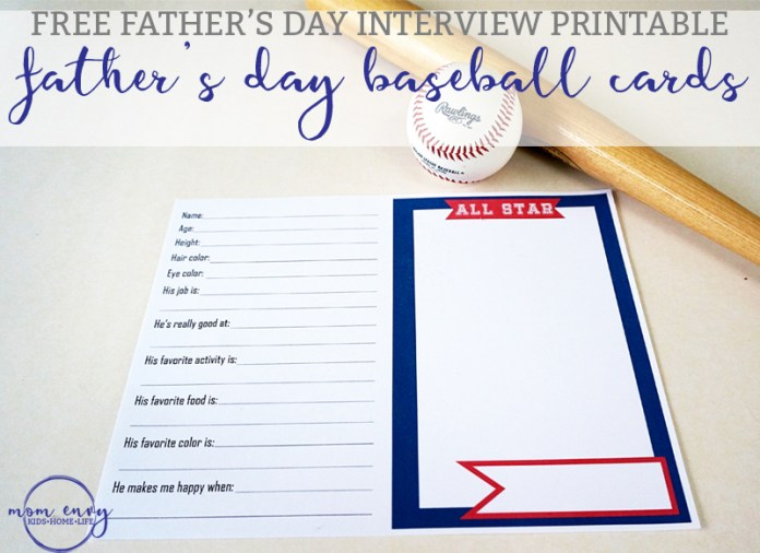 Father's Day Interview Printable Interview Baseball Cards