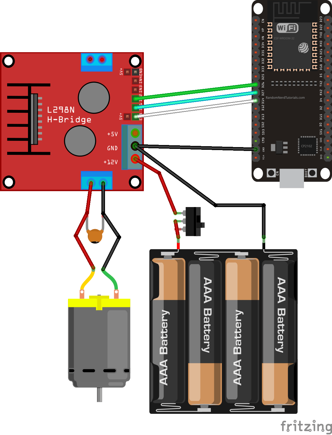 small resolution of the dc motor requires a big jump in current to move so the motors should be powered using an external power source from the esp32