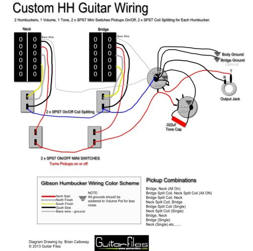 small resolution of custom hh wiring diagram with spst coil splitting and spst