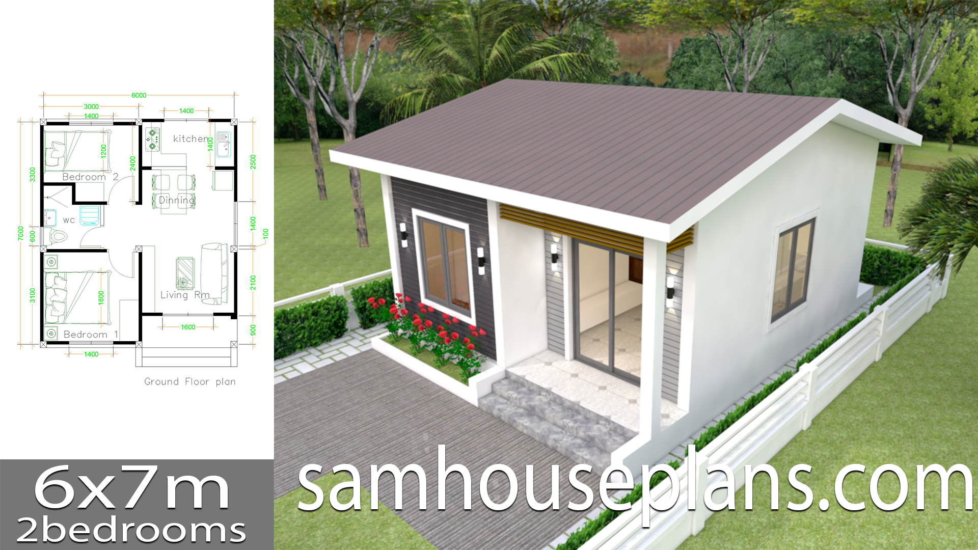House Plans 6x7m With 2 Bedrooms Sam House Plans