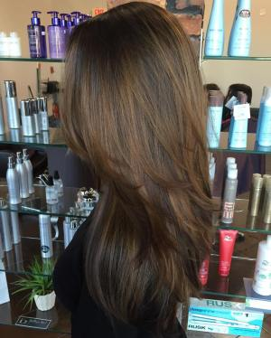 Layered Golden Brown Balayage Hair