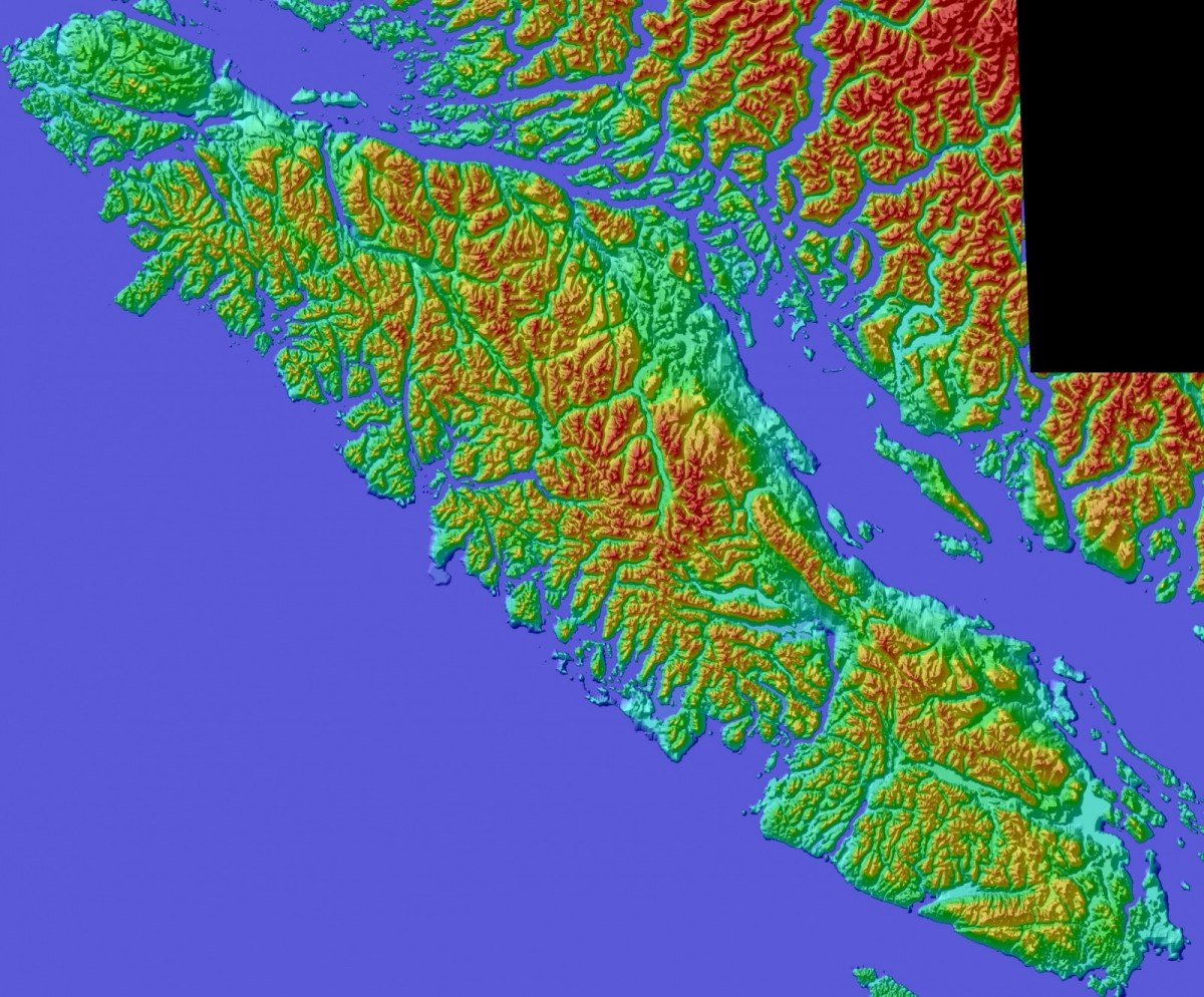 Color Shaded Relief Model Of Vancouver Island – Tmackinnon Com