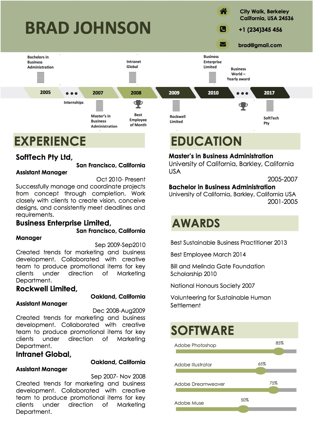Green Timeline Word Resume Template (Docx)