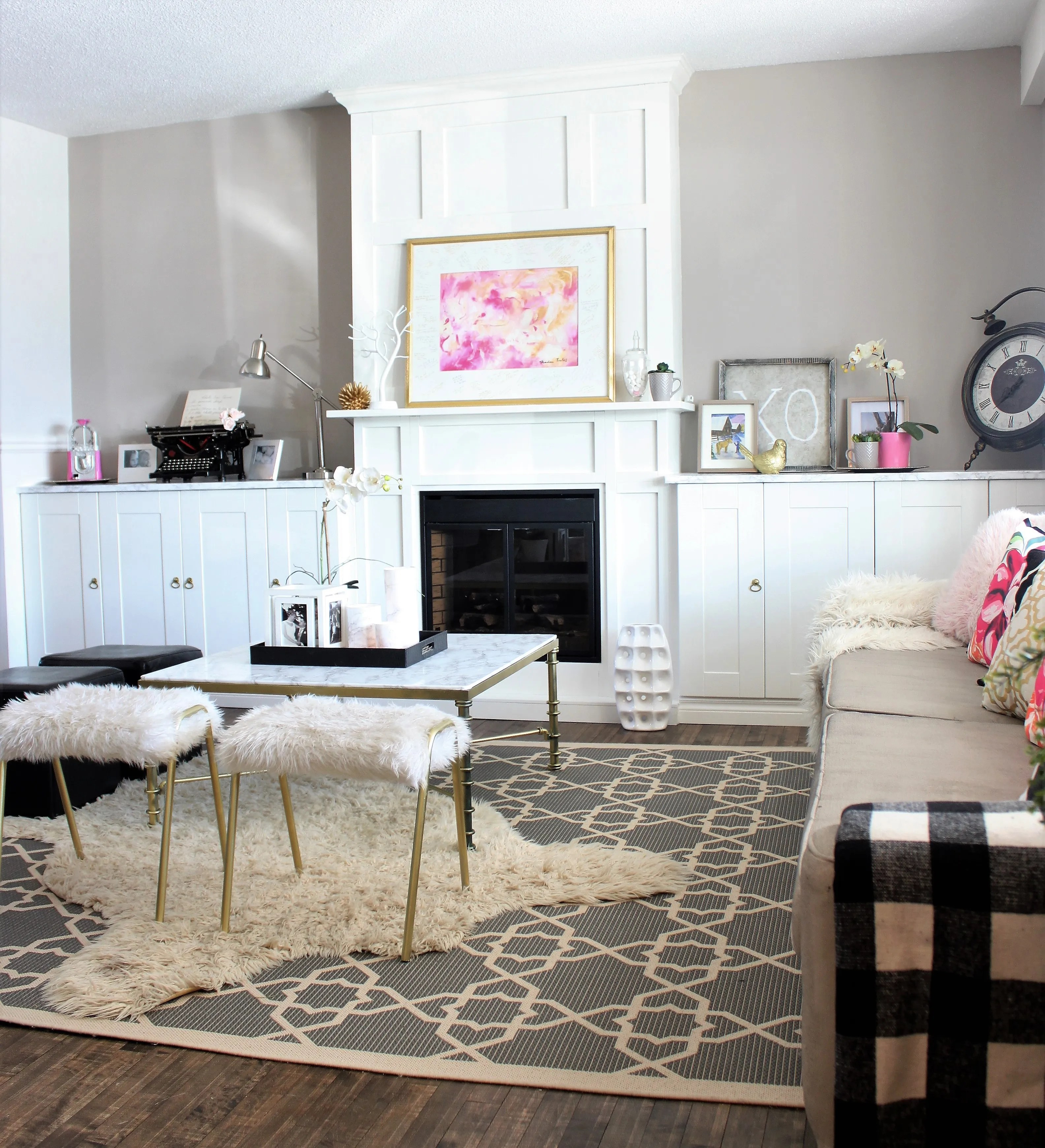 Living Room Built ins Around an Electric Fireplace  a