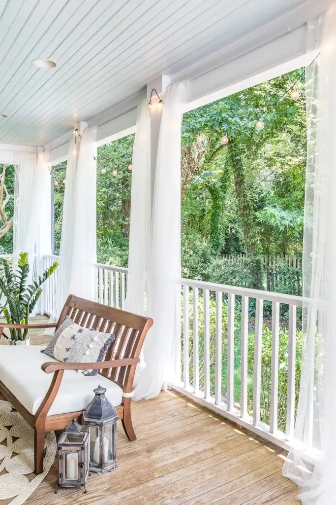 diy outdoor curtains and screened porch