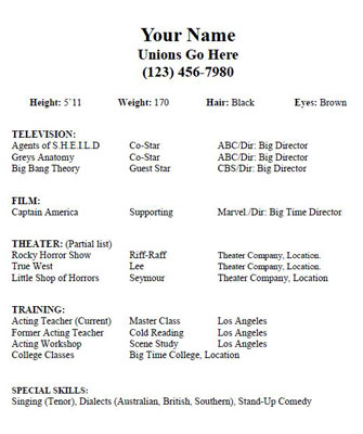 Acting Resume Template  Daily Actor