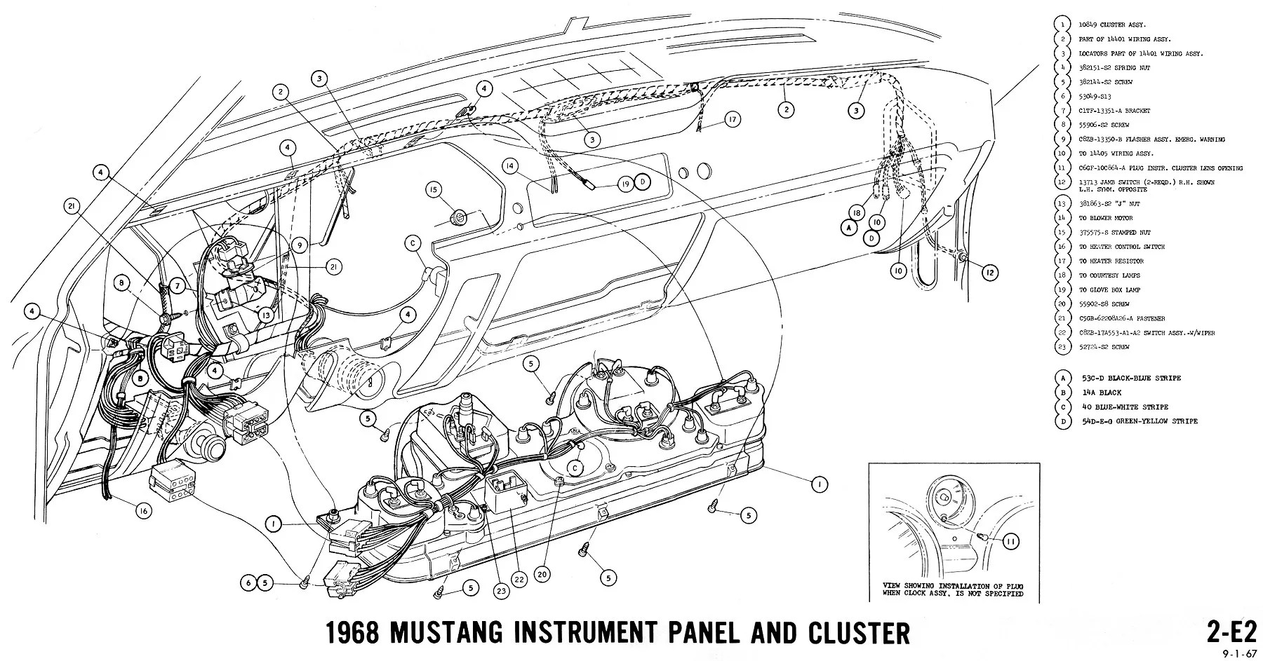 instrument cluster e2 instrument cluster 1968 ford mustang wiring guide how to use the wiring diagrams [ 1800 x 943 Pixel ]