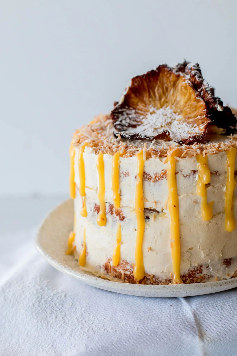 GlutenFree Pineapple Coconut Cake with Passionfruit Curd