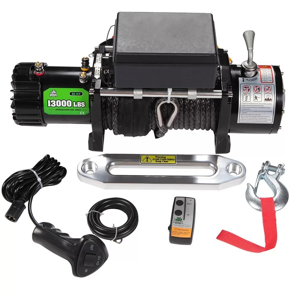 small resolution of boar jeep winch with stainless steel cable and 13000lb load capacity