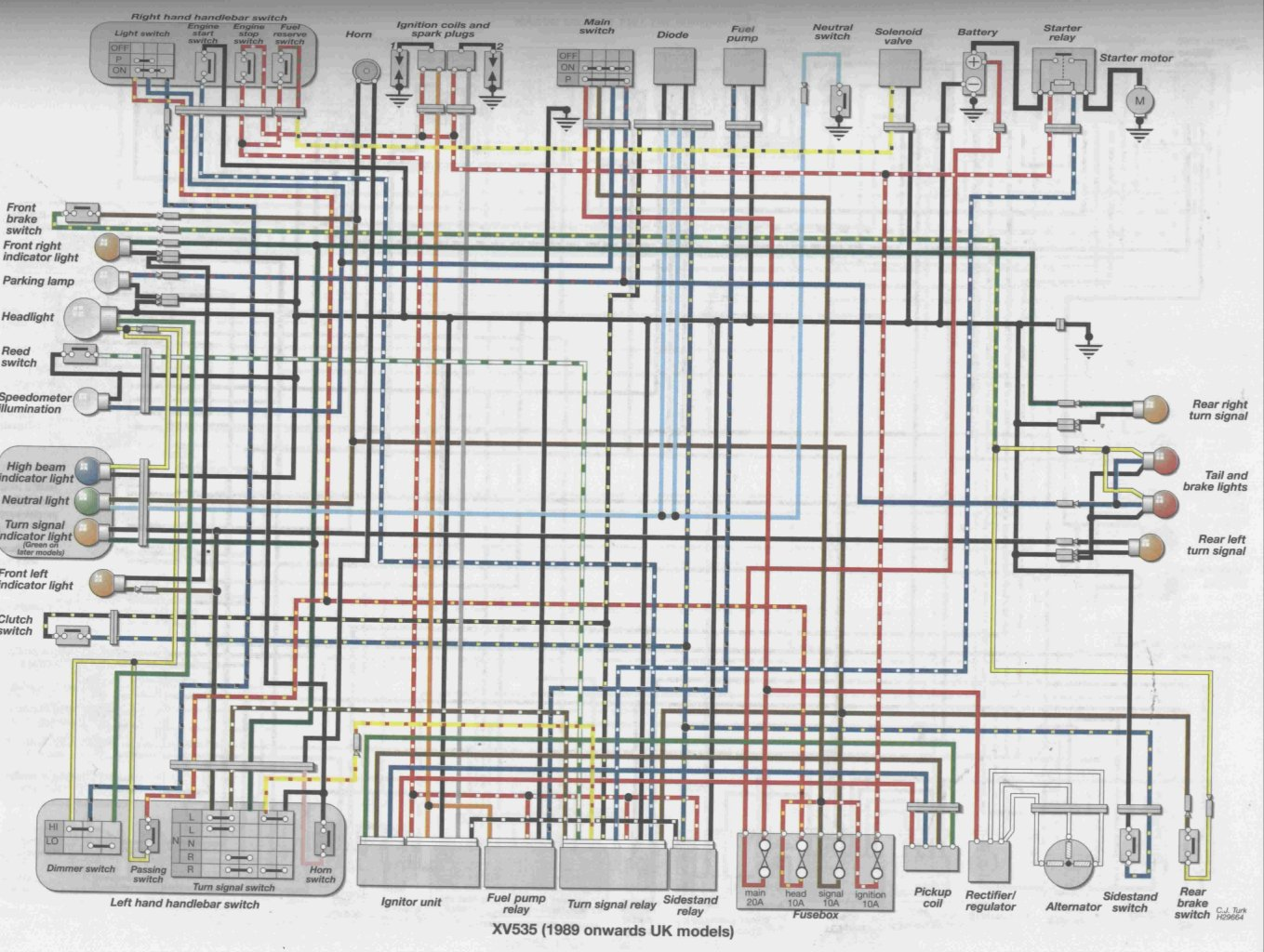 here s a link to a suitable wiring diagram that may help you courtesy of virago tech com  [ 1359 x 1024 Pixel ]