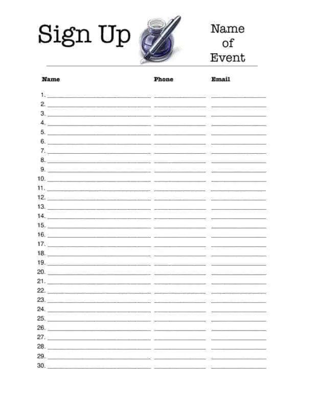 email sign up sheet template microsoft word
