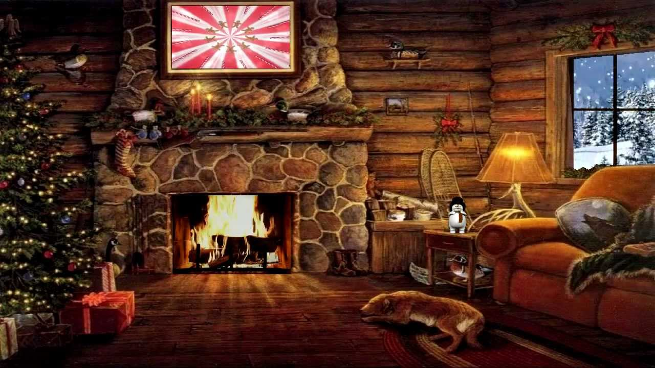 Seasonal Fall Coffee Desktop Wallpaper Christmas Cottage With Yule Log Fireplace And Snow Scene