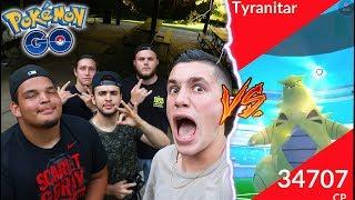 TYRANITAR vs. MY FRIENDS! POKEMON GO LVL 4 RAIDING WITH THE SQUAD! + Wild Dragonite!