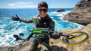 Scuba Diving One of Hawaii's Most Dangerous Cliff Side for Sunken Treasure! (Spitting Caves)