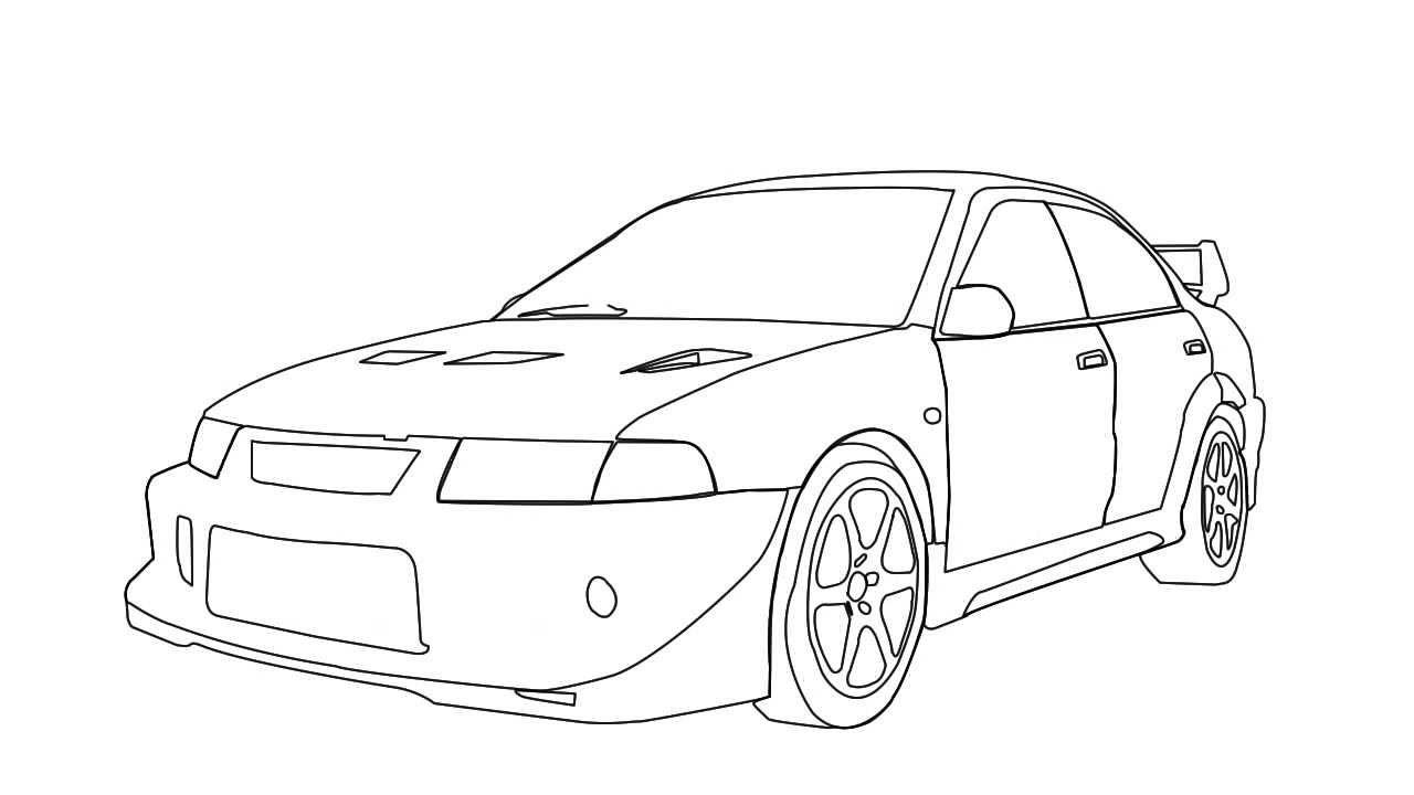 Mitsubishi Evo Jdm Drawing Sketch Coloring Page