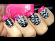 chevron nails tutorial - konad