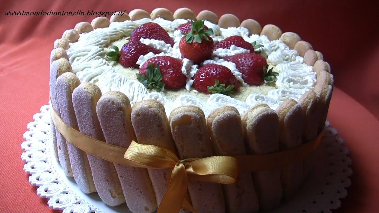 Torta con fragole  panna e savoiardi  YouTube
