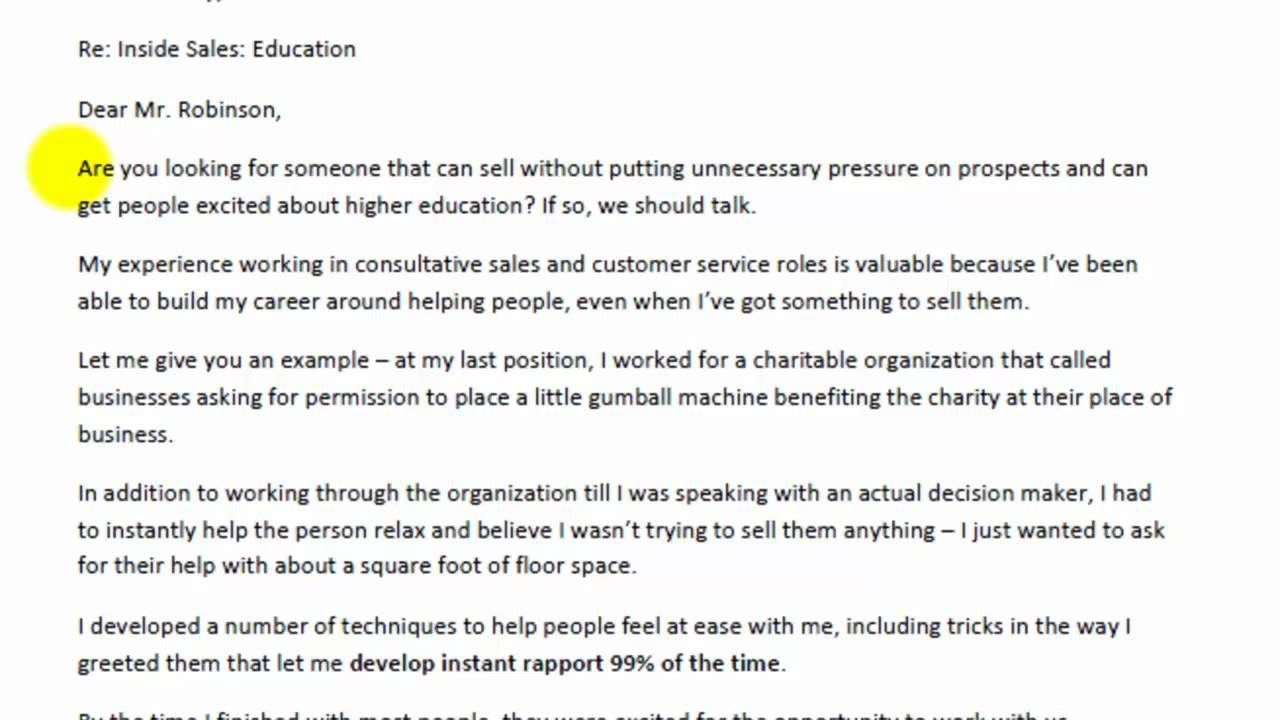 Example for Cover Letter  YouTube