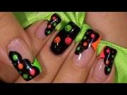 neon colors happy face nail art