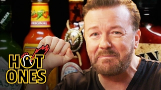 Ricky Gervais Pits His Mild British Palate Against Spicy Wings | Hot Ones