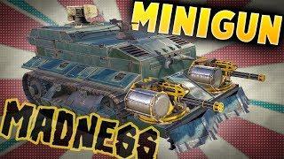 Crossout Gameplay - Double Reaper Minigun Tank Build - The Mini Minigun Tank - Crossout Builds