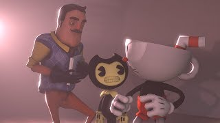 [SFM]Hello Neighbor Tries To Sell Cuphead His Book Cuphead vs Hello Neighbor
